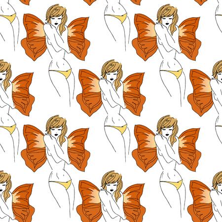petite fille maillot de bain: illustrations dessinées à la main. Belle fille avec des ailes de papillon. filles vierges Mignon. Seamless.