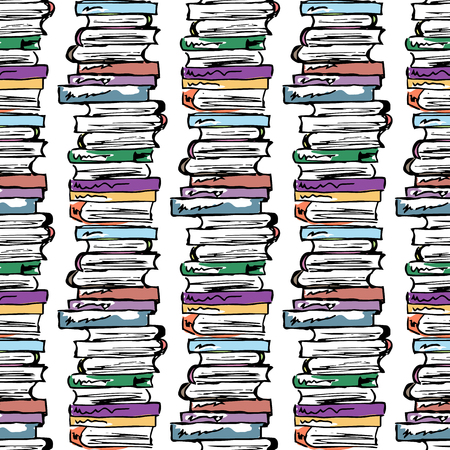 a literary sketch: Educational illustration. Study, session, library, student life. Seamless pattern.
