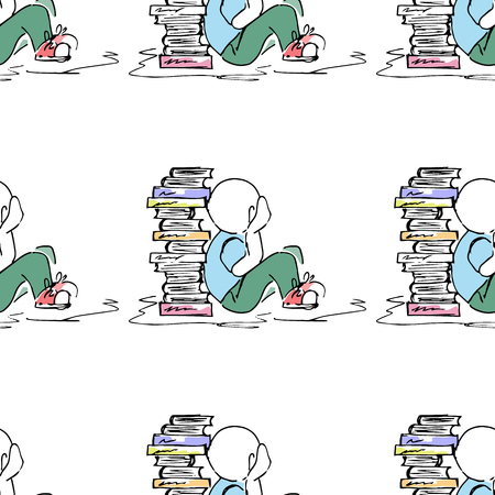 a literary sketch: Educational illustration. People at work. Study, session, library, student life. Seamless pattern. Illustration