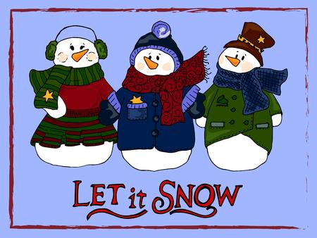 man looking at sky: Holiday illustration. Christmas snowmen. New Year card. Winter figure.