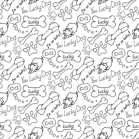 personal grooming: Hand-drawn illustrations. The dream of a dog is a bone. Seamless pattern.