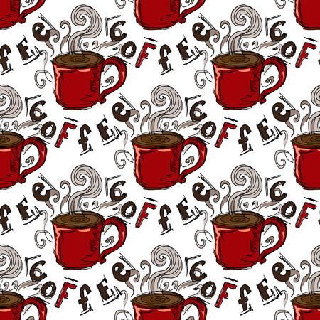 handdrawn: Hand-drawn illustrations. A cup of coffee. Seamless pattern. Illustration
