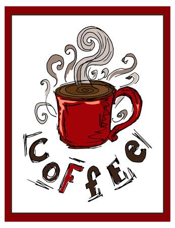 postcard: Hand-drawn illustrations. Postcard a cup of coffee.