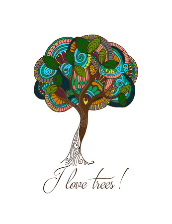tree line: Hand-drawn illustrations. Abstract colorful tree. Postcard I love trees.