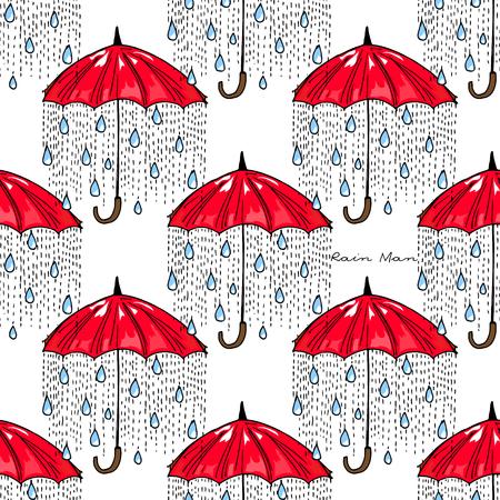 Hand-drawn illustrations. Rain under a red umbrella. Postcard Rain Man. Seamless pattern. Ilustração