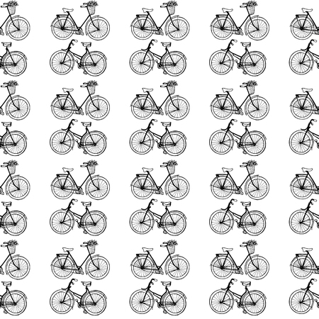 velocipede: Hand-drawn illustrations. Vintage bicycles. Black and white postcard. Seamless pattern.