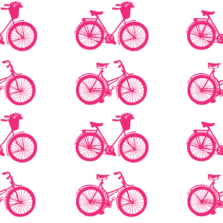 pink bike: Hand-drawn illustrations. Pink bike. Seamless pattern. Illustration