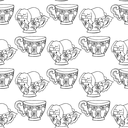 fell: Hand-drawn illustrations. Black and white teacups. Postcard cute funny fell asleep in a cup. Seamless pattern.