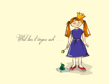 frog queen: Hand-drawn illustrations. Card with a princess. Red-haired girl with a magic wand. What does it conjure such. Illustration