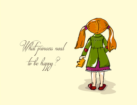 fashion story: Hand-drawn illustrations. Card with a princess. Red-haired girl with a crown. What princess need to be happy Illustration