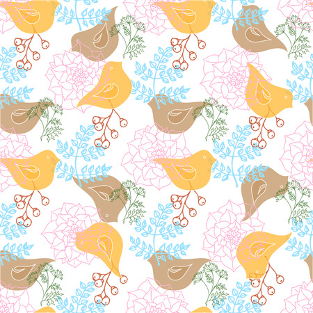 illustrations. Greeting card with birds in ethnic style. Seamless pattern Ilustrace