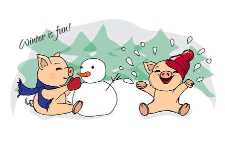 piglets: illustrations. New Year card. Winter card with pigs. Children playing with snow. Piglets and snowman