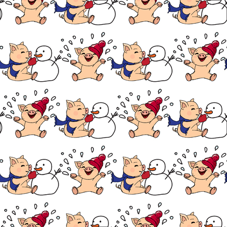 illustrations. New Year card. Winter card with pigs. Children playing with snow. Piglets and snowman. Seamless pattern