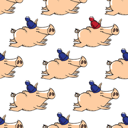 flying pig: illustrations. New Year card. Winter card with a flying pig. Seamless pattern