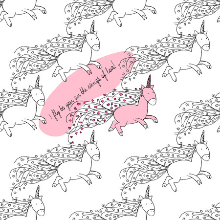 illustrations. Postcard for lovers. Flying Unicorns. Seamless pattern
