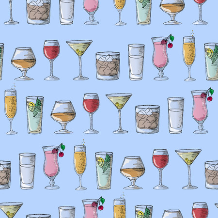 Hand drawing. Illustration cocktails. Seamless pattern. Ilustrace
