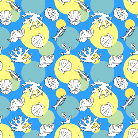 Hand drawing. Illustration of sea coast and its inhabitants. Seamless pattern.