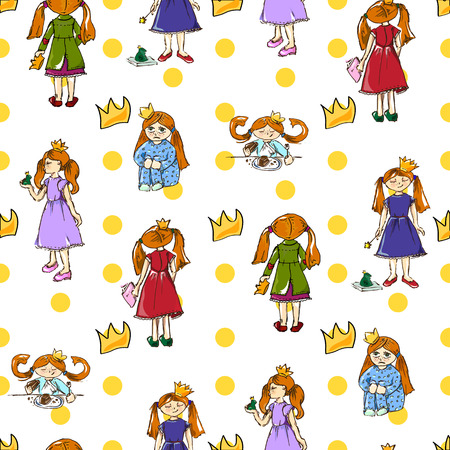 frog queen: Hand drawing. Illustration of a cute little princess. Seamless pattern. Illustration