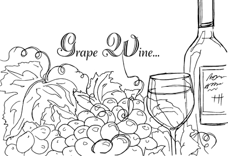 gastronomic: Hand drawing. Illustration of a bottle of wine and a bunch of grapes. Gastronomic card.