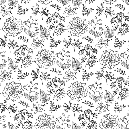 Hand-drawn illustrations. Beautiful background with ethnic pattern. Black and white plant on a clean background. Seamless pattern