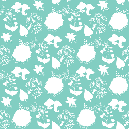 oldfield: Hand-drawn illustrations. Beautiful background with ethnic pattern. Plants on a turquoise background. Seamless pattern Illustration