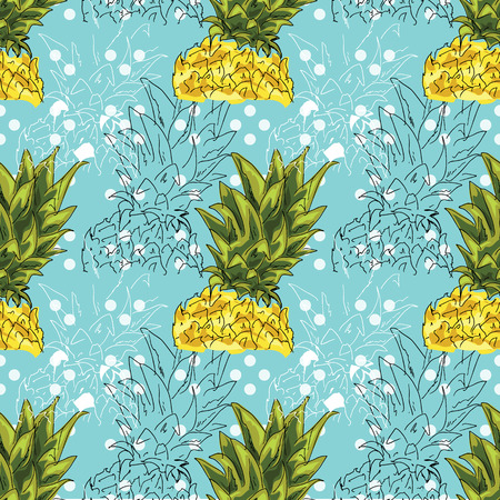 Hand drawing. Illustration of pineapple on a blue background. Seamless pattern