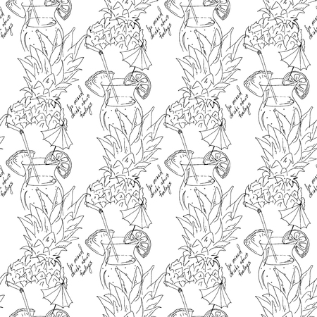 Hand drawing. Illustration of tropical cocktail with umbrella. Seamless pattern. Postcard black and white Ilustrace