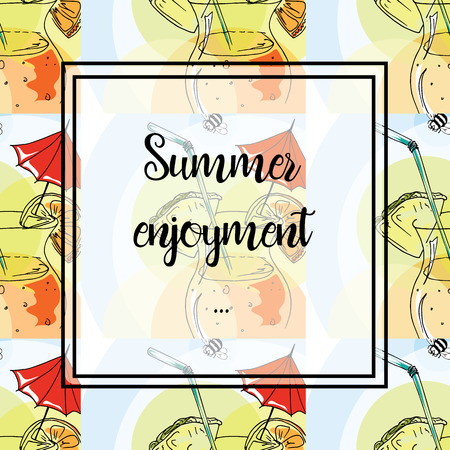 enjoyment: Hand drawing. Illustration of tropical cocktail with umbrella. Seamless pattern. Postcard Summer enjoyment