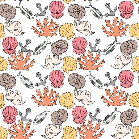 Hand-drawn illustrations. Image with seashells, coral and marine inhabitants on the white background. Seamless pattern