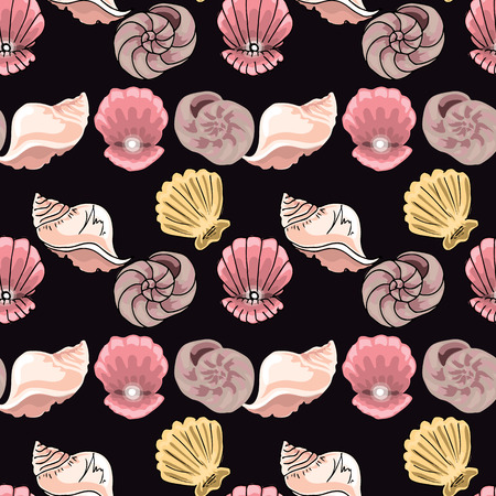Hand-drawn illustrations. Image with seashells on the depth of the sea.Seamless pattern Ilustrace