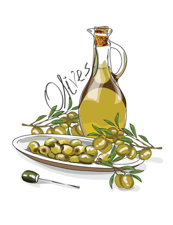 Illustration for the book. Seamless pattern. A jar with olive oil. The branches of the olive. Postcard with food. Gastro postcard