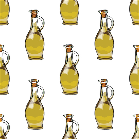 Illustration for the book. Seamless pattern. Jars with olive oil. Postcard with food. Gastro postcard Ilustrace