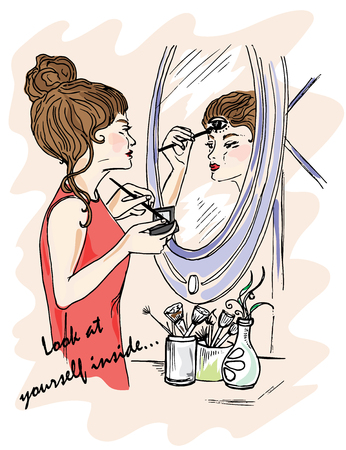 Illustration for the book. Look at yourself inside. The girl does makeup. Displays in the mirror. Mystery around us. Third Eye