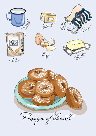 Illustration for the book. Recipe of donuts. Ingredients for donuts. Painted recipe