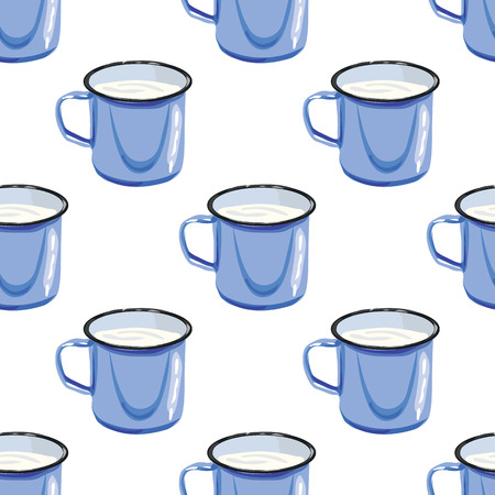 Illustration for the book. Seamless pattern. Mug with water. A cup of milk. Blue steel mug