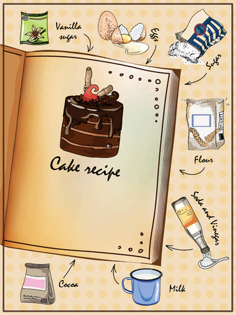 Illustration for the book. Illustrated cake recipe. The book with the ingredients