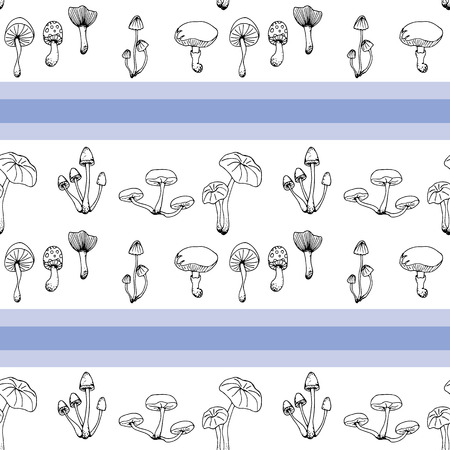 Nature illustration. Natural materials. Forest postcard. Assorted mushrooms. Edible and poisonous mushrooms. Black and white seamless pattern Ilustrace