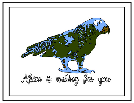 Nature illustration. Post card. Animals from the jungle. Parrot in the zoo. Africa is waiting for you