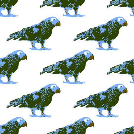 Nature illustration. Post card. Animals from the jungle. Parrot in the zoo. Seamless pattern