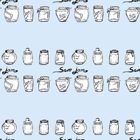 Save jam. A set of jars with jam. Bank of jam. Seamless pattern Ilustrace