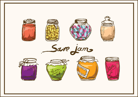Save jam. A set of jars with jam. Bank of jam. Ilustrace