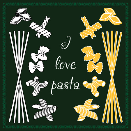 Set products. Seamless pattern. Ready-made ingredients. Variety of pasta. Set pasta. I love pasta Ilustrace