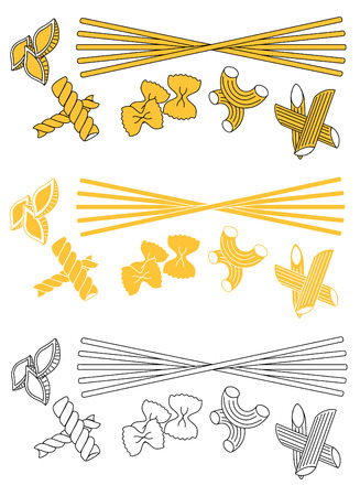 Set products. Seamless pattern. Ready-made ingredients. Variety of pasta. Set pasta Ilustrace