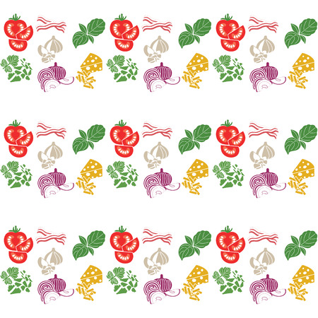 Set products. Seamless pattern. Sliced vegetables. Ready-made ingredients. Parsley, basil, bacon, onion, garlic, cheese