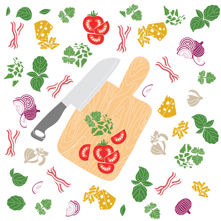 Set products. Seamless pattern. Sliced vegetables. Ready-made ingredients. Parsley, basil, bacon, onion, garlic, cheese. Knife and board. Cooking is my life Illustration