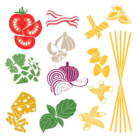 Set products. Seamless pattern. Pasta and vegetables. Ready-made ingredients. Parsley, basil, bacon, onion, garlic, cheese, pasta