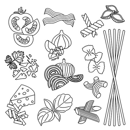 Set products. Seamless pattern. Pasta and vegetables. Ready-made ingredients. Black and white. Parsley, basil, bacon, onion, garlic, cheese, pasta Ilustrace