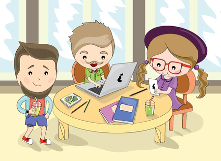 Illustration on a theme work. Hipsters work. Stylish people. Fashionable gadgets