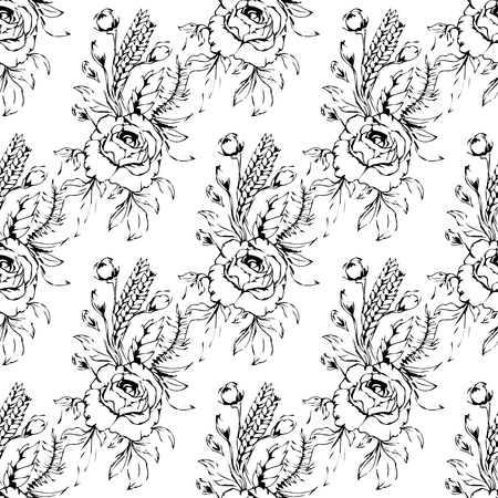 Bouquet of roses seamless pattern background in black and white. Ilustrace
