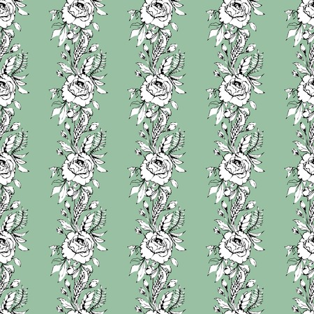 Background with flowers. Seamless pattern with rose. Bouquets of roses. Ilustrace
